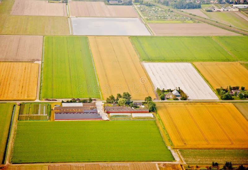 Lantgården landskap från över, Nederländerna royaltyfri foto