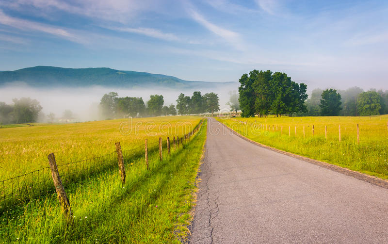 Lantgårdfält längs en landsväg på en dimmig morgon i Potomen royaltyfri bild