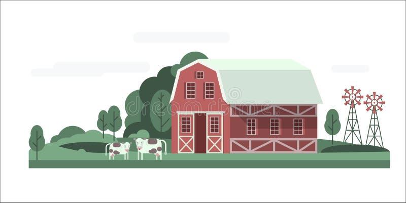 Lantgårdhuslandskap vektor illustrationer