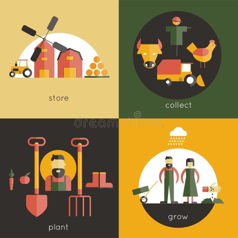 Lantgårdlägenhetuppsättning stock illustrationer