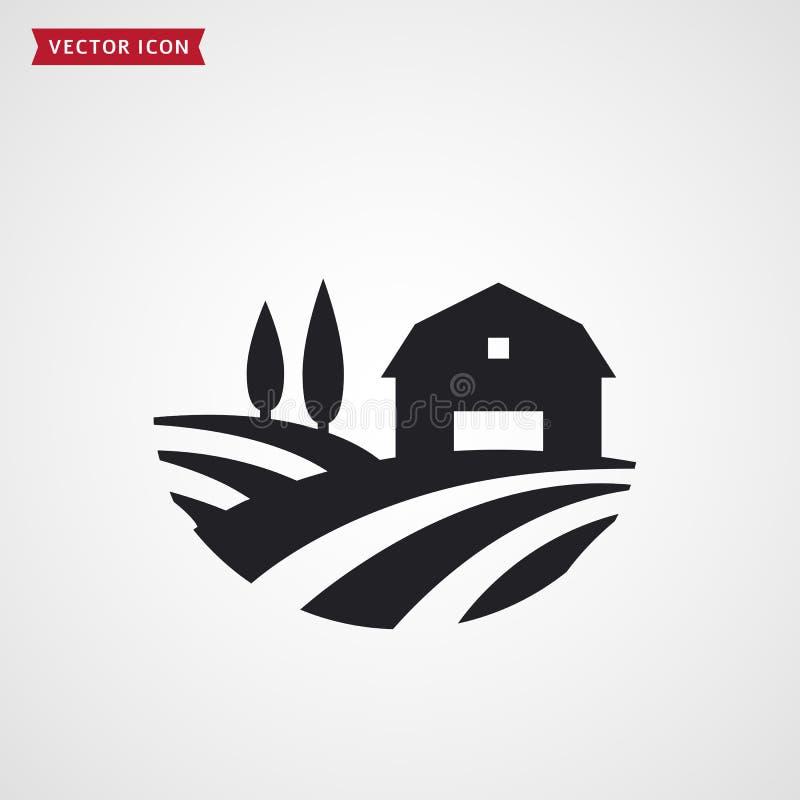Lantgårdladugård och fält Lantbrukarhemvektorsymbol stock illustrationer