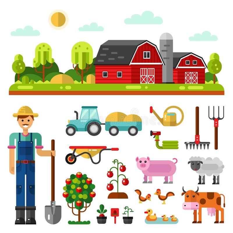 Lantgårdlandskap, lantgårddjur och redskap stock illustrationer