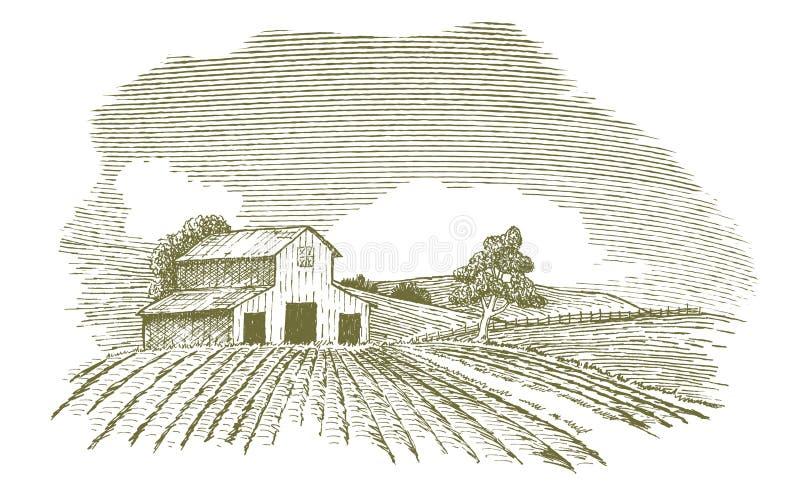 Lantgårdlandskap med ladugården vektor illustrationer