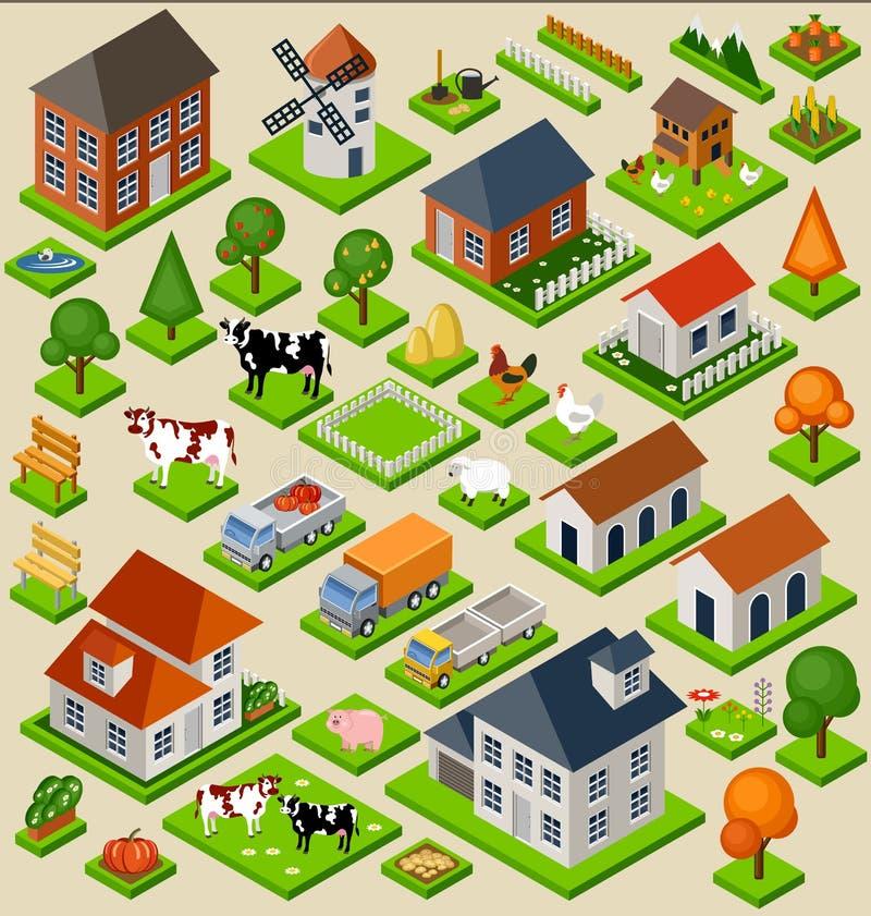 Lantgårdleksaken blockerar den isometriska uppsättningen royaltyfri illustrationer