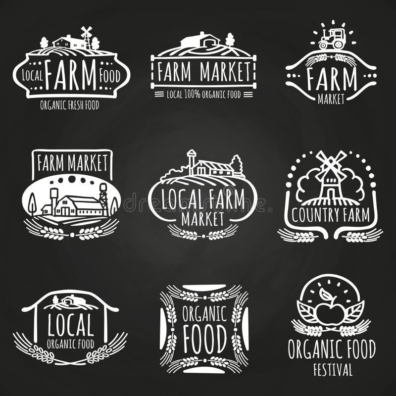 Lantgårdmarknad och dragen matfestivalhand vektor illustrationer