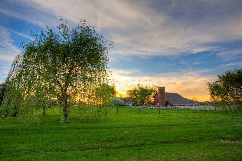 lantgårdsolnedgång arkivbilder