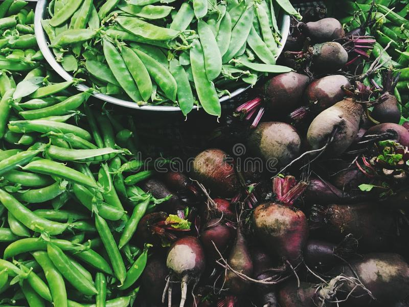 Lantgårdställningsjordbruksprodukter - beta, Sugar Snaps, ärtor royaltyfria bilder