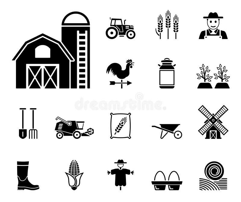Lantgårdsymbolsuppsättning vektor illustrationer