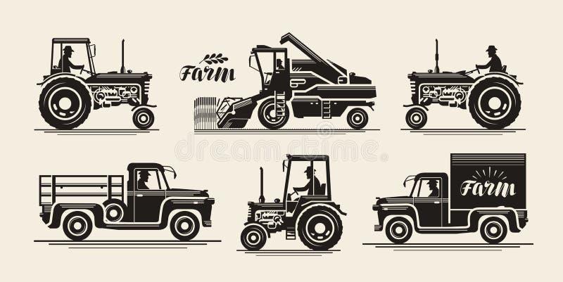 Lantgårdsymbolsuppsättning Jordbruks- bransch, bonde, skördearbetare, traktor, lastbilsymbol Tappningvektorillustration stock illustrationer