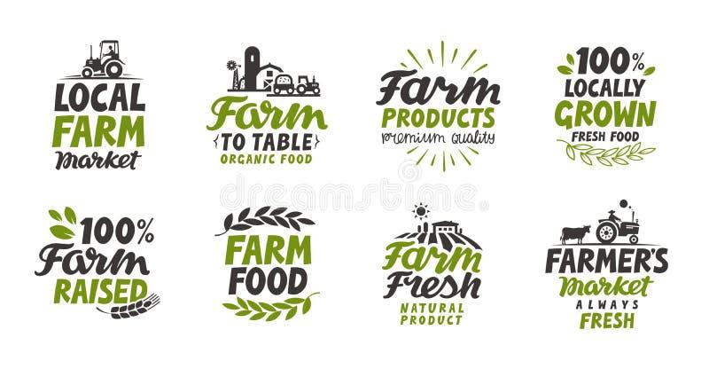 Lantgårdsymbolsuppsättning Naturlig organisk mat Symbolvektorillustration royaltyfri illustrationer