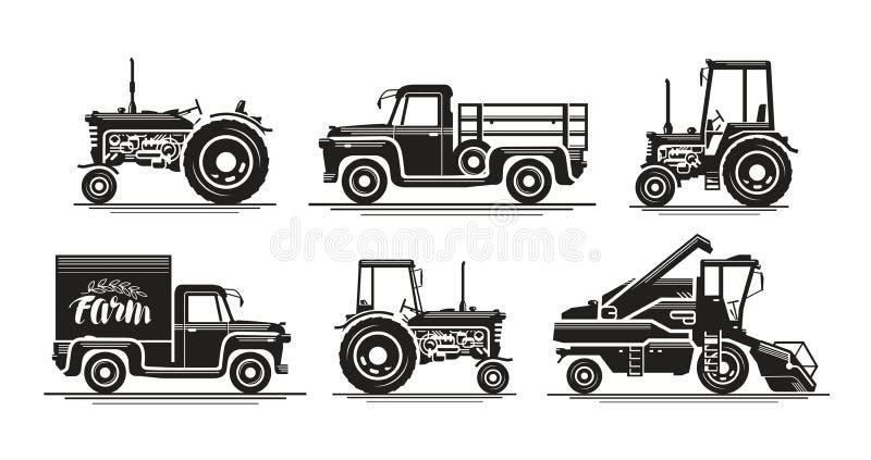 Lantgårdtransport, ställde in symboler Jordbruks- traktor, lastbil, lastbil, skördearbetare, sammanslutning, uppsamling, bilsymbo vektor illustrationer