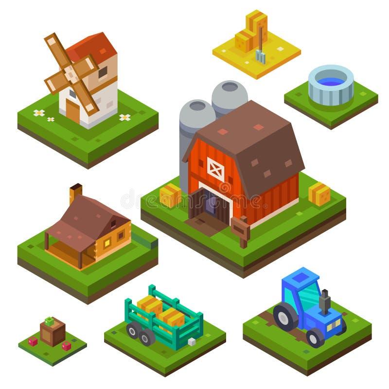 Lantgårduppsättning i isometrisk sikt royaltyfri illustrationer