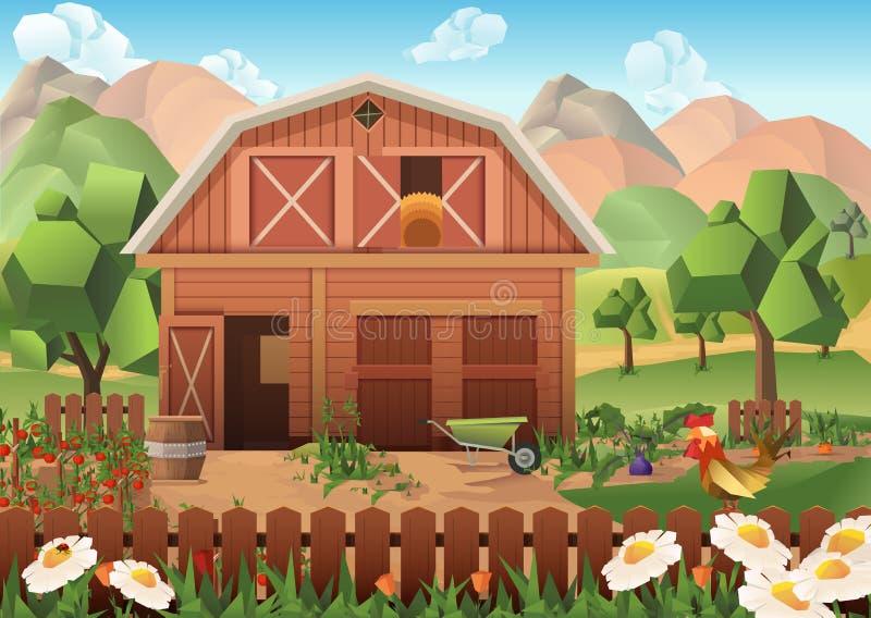 Lantgårdvektorbakgrund stock illustrationer