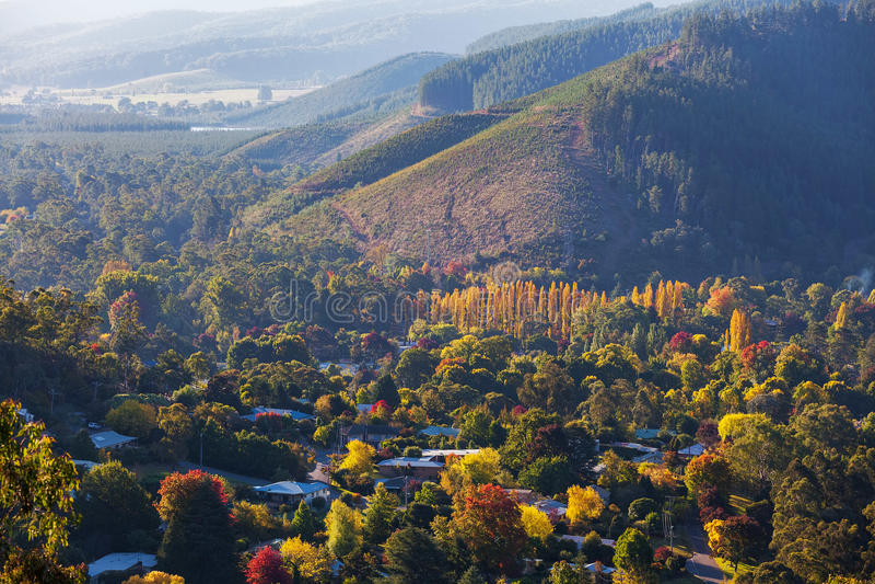 Lantlig australisk stad i höstfärger Ljust Victoria, Austra royaltyfria bilder