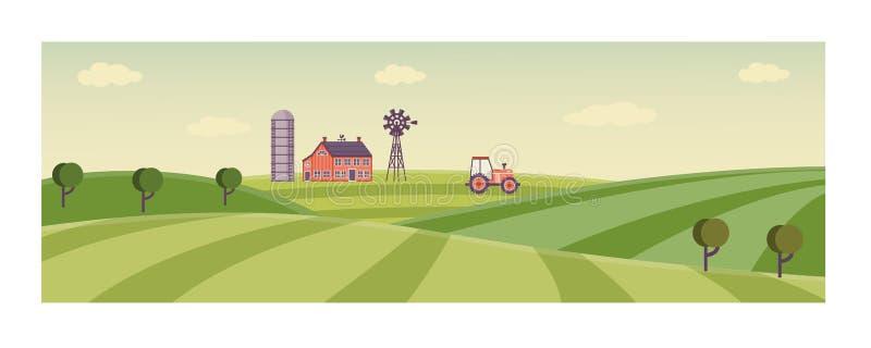 Lantlig bakgrund för vektor, fält för grönt gräs stock illustrationer