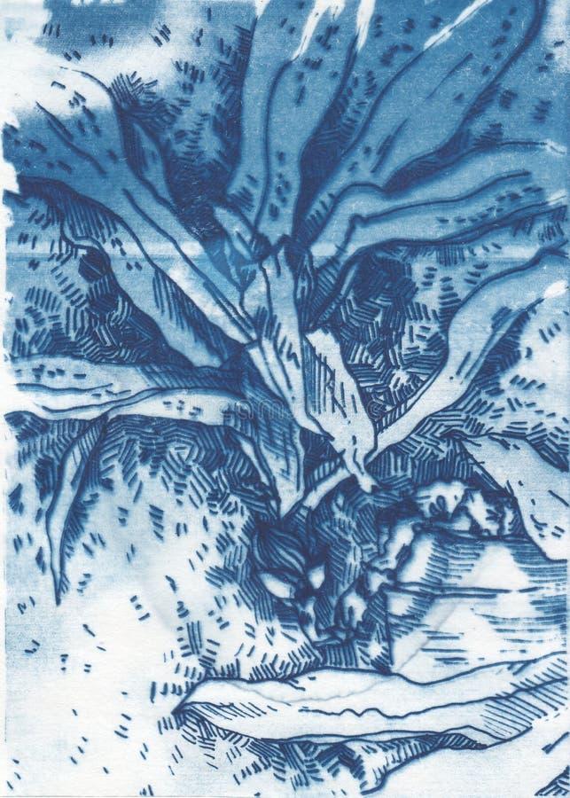 Lantlig blom- illustration- och vattenfärgkonst royaltyfri foto