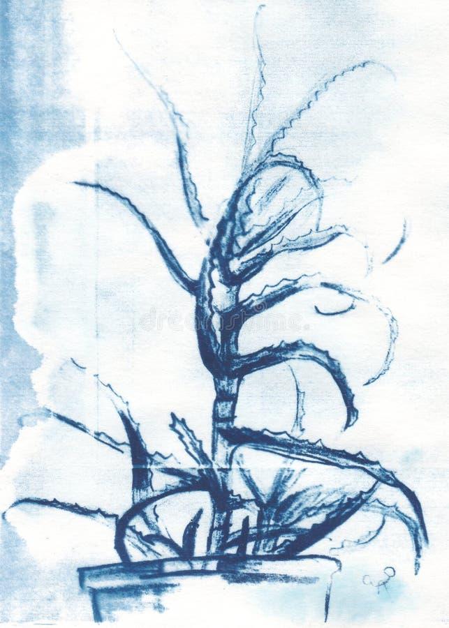 Lantlig blom- illustration- och vattenfärgkonst royaltyfri fotografi