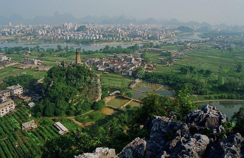 Lantlig bygd för Guilin lijiang i Kina royaltyfria foton