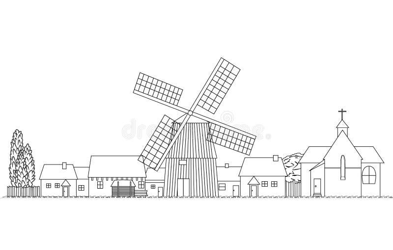 Lantlig bygd skissar vektorillustrationen stock illustrationer