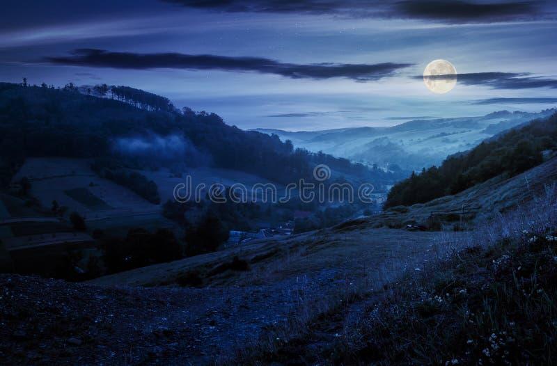 Lantlig dal med forested kullar på natten arkivfoto
