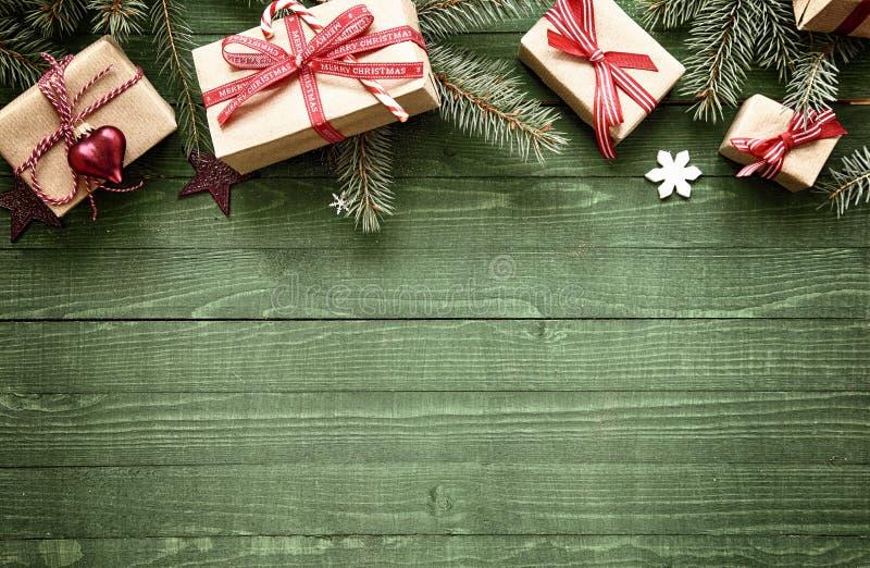 Lantlig festlig julgräns royaltyfria foton