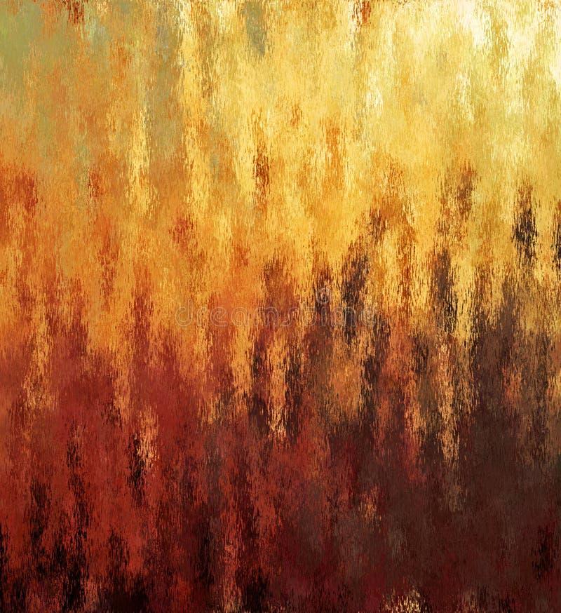 Lantlig flamma för Digital målningabstrakt begrepp med olika skuggor av röd och brun färgbakgrund för guling, royaltyfri fotografi