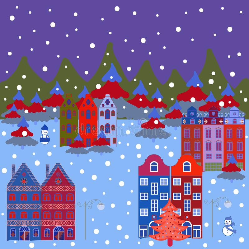 Lantlig gemenskap på blåa, violetta och röda färger stock illustrationer