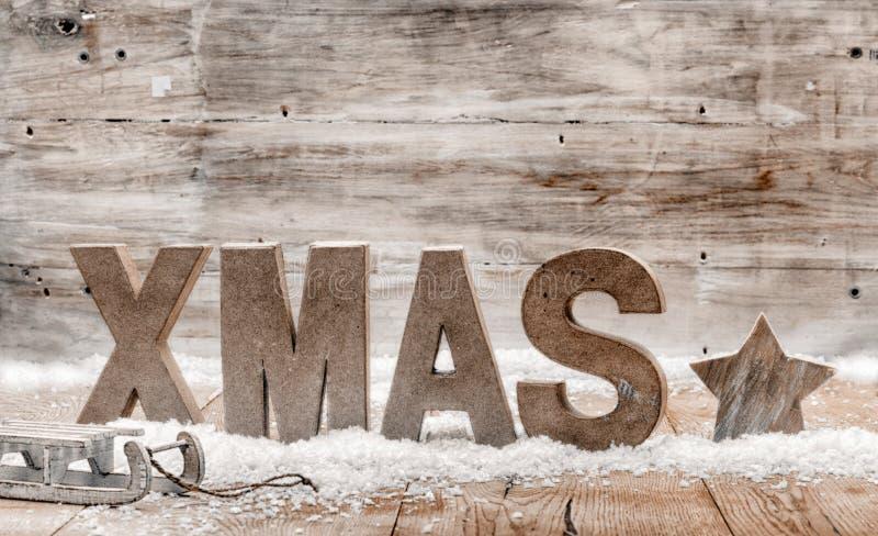 Lantlig julbakgrund för Wood hantverk fotografering för bildbyråer