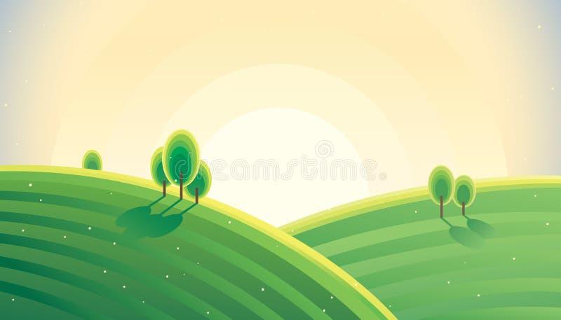 Lantlig landskapsoluppgång för morgon över kullar royaltyfri illustrationer