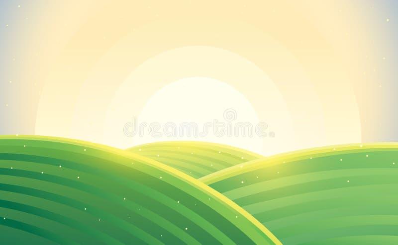Lantlig landskapsoluppgång för morgon över kullar stock illustrationer