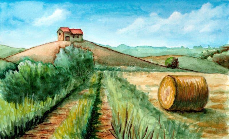 Lantlig landskapvattenfärg stock illustrationer