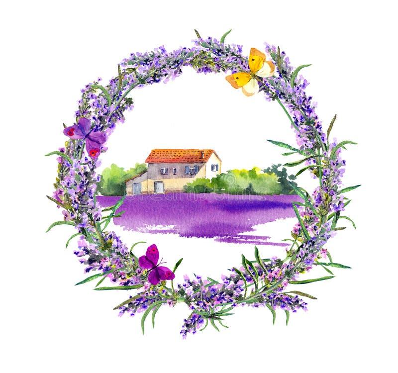 Lantlig lantgård - provencal hus, lavendelblommafält vattenfärg royaltyfri illustrationer