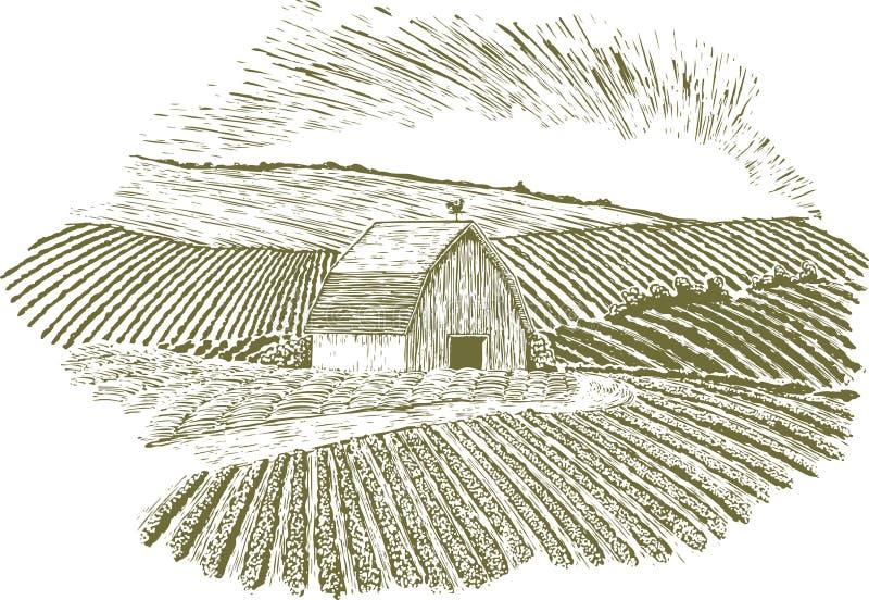 Lantlig lantgårdinställning för träsnitt stock illustrationer