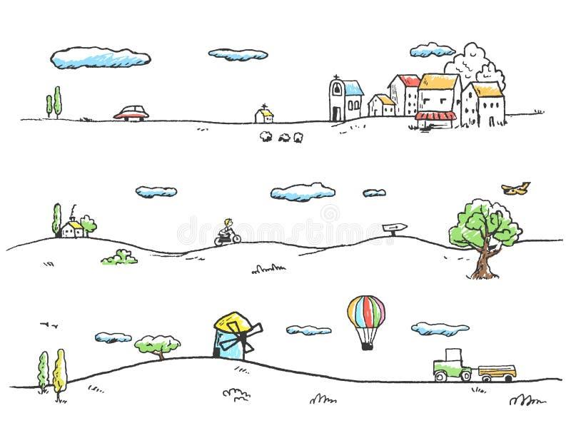 lantlig liggande vektor illustrationer