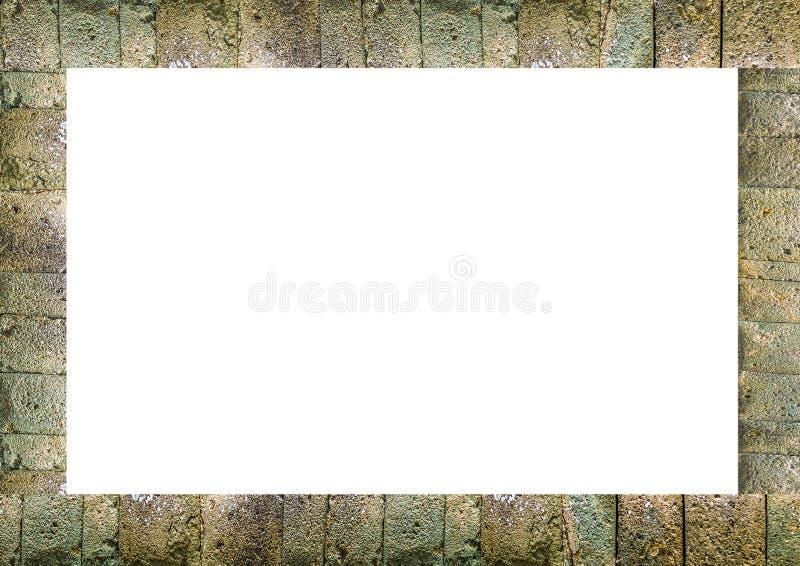 Lantlig mönstrad sten dekorerad ram stock illustrationer