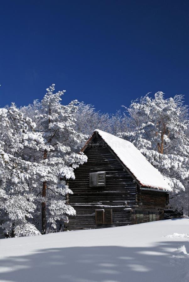 lantlig snow för hus arkivfoton