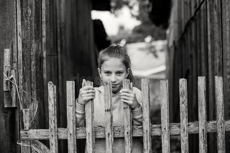 Lantlig stående av en gullig liten tonårig flicka royaltyfri fotografi
