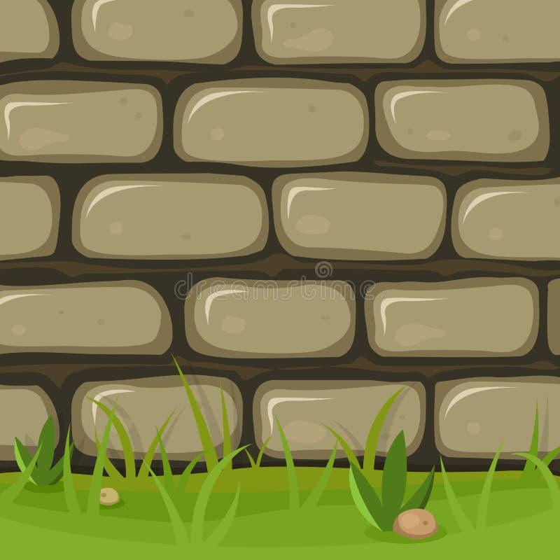 Lantlig stenvägg för tecknad film stock illustrationer