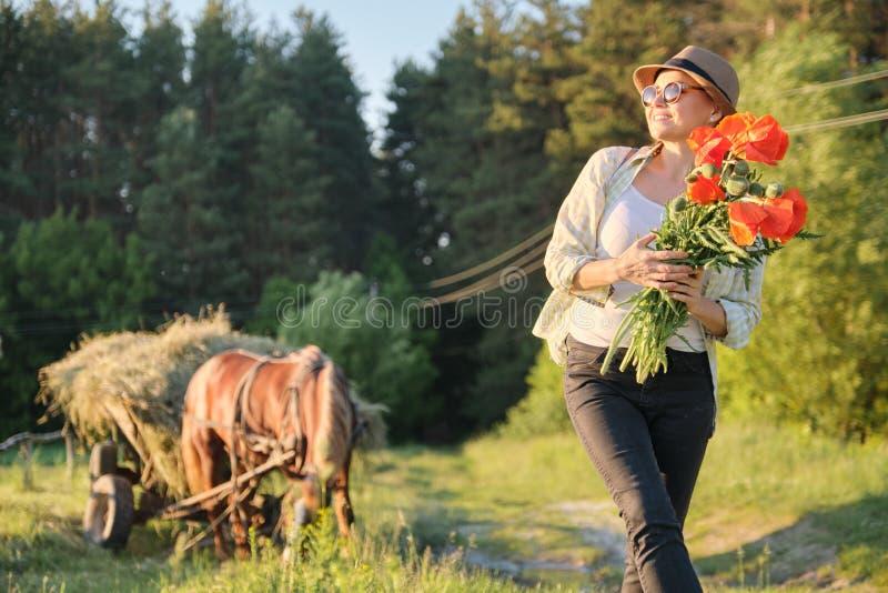 Lantlig stil, mogen lycklig kvinna i hatt med buketter av vallmoblommor som promenerar landsvägen fotografering för bildbyråer