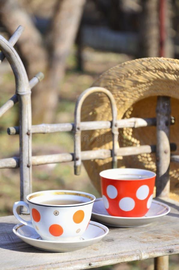 Lantlig stilleben med kopp te och en sugrörhatt royaltyfri fotografi