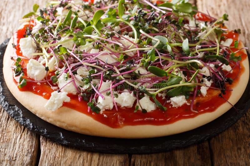 Lantlig stilpizza med feta och mikrogr?n n?rbild f?r ny blandning horisontal fotografering för bildbyråer