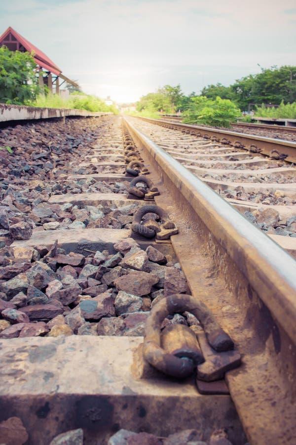 Lantlig tappning för järnvägspår royaltyfri foto
