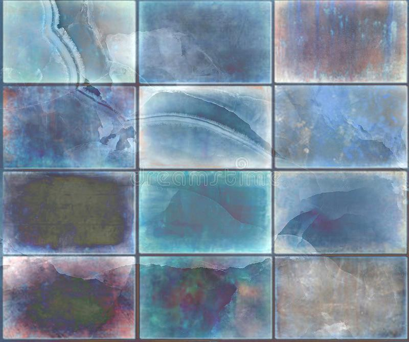 lantlig tegelstenvägg för aqua, mång- färgtegelstenar för keramiska tegelplattor, höga upplösningstegelstenar royaltyfri fotografi