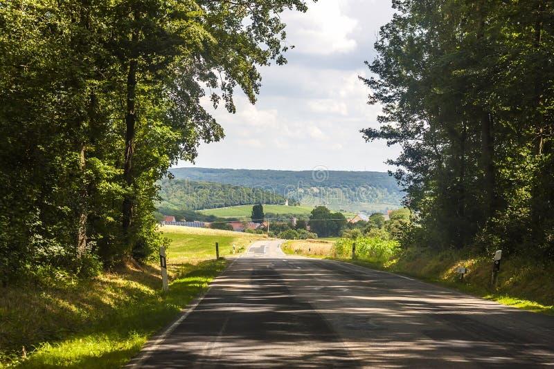 Lantlig väg för asfaltland i Tyskland till och med det gröna fältet royaltyfria foton