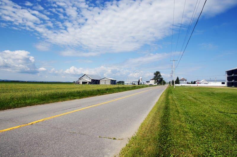 Lantlig väg och lantgårdar arkivfoton