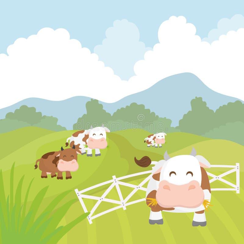 Lantliga och lantgårdsymboler stock illustrationer