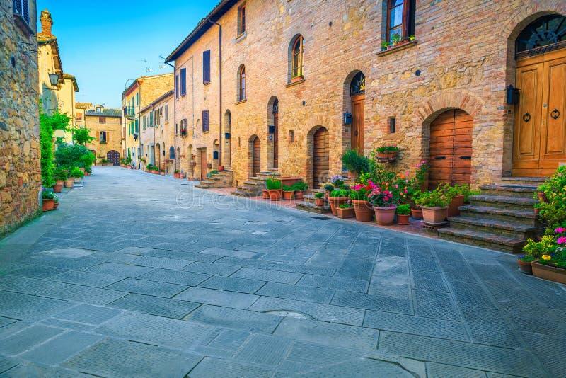 Lantliga stenhus som dekoreras med färgrika blommor, Pienza, Tuscany, Italien arkivbilder