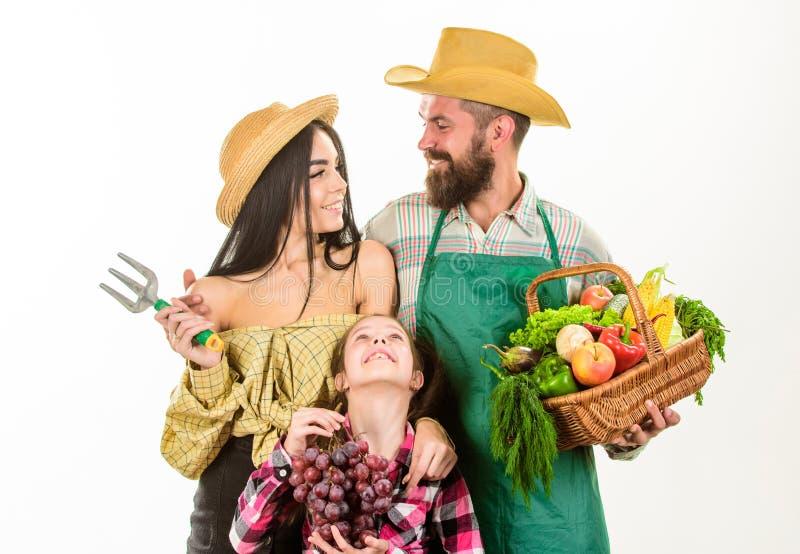 Lantliga stilbönder för familj som är stolta av bakgrund för korg för trädgårdsmästare för bönder för nedgångskördfamilj isolerad arkivfoto