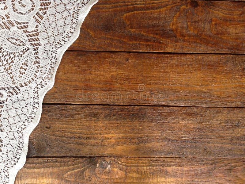 Lantliga träbräden med snör åt bordduken royaltyfri fotografi