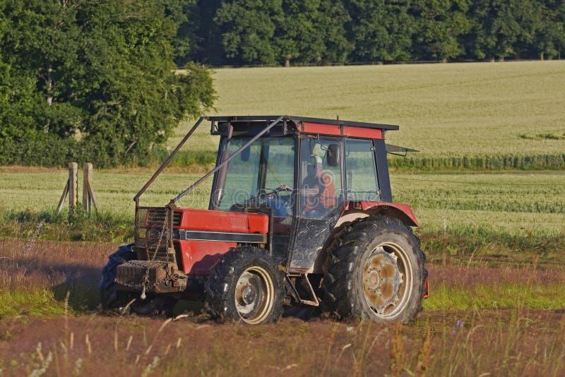 Lantligt fält i Frankrike med en traktor royaltyfri foto